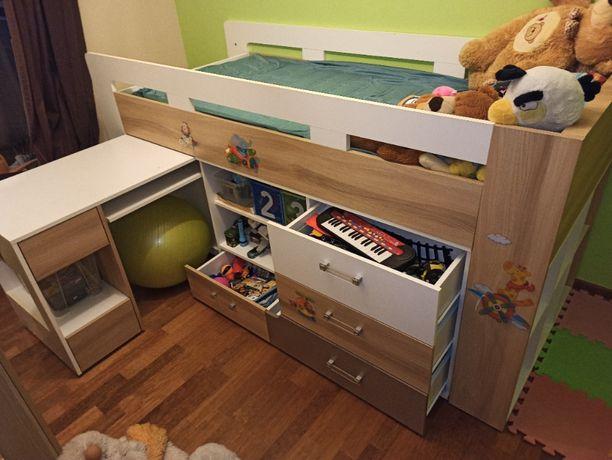 łóżko z biurkiem pokój dziecka 222x96x111 dł./szer./wys.