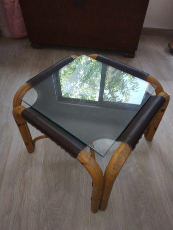 Mesa centro bambu, cabedal e vidro