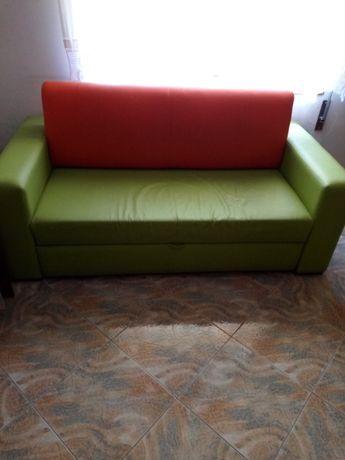 Sofá-Cama verde e laranja quarto ou sala