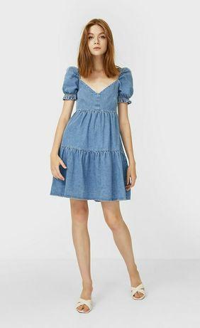 Джинсовое платье, бебидолл, babydoll stradivarius