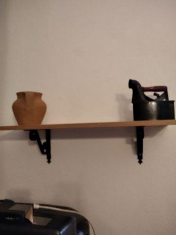 Prateleira madeira rustica + suportes ferro preto