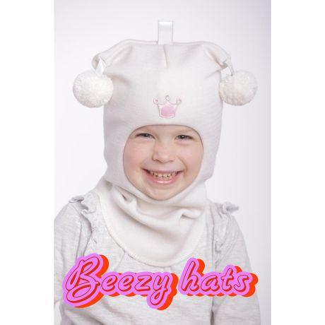 Шапка шлем для девочки Beezy -100% шерсть, все размеры. Детские шапки