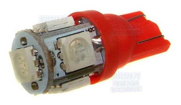 6 Lâmpadas carro LED T10 - W5W - 12V 1.3W com 65lm - conjunto