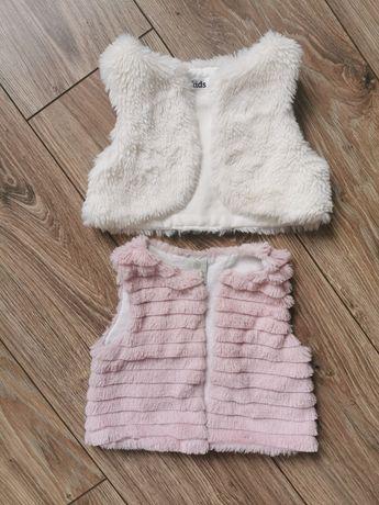 Kamizelka, Kamizelki futrzane r. 80 biała różowa