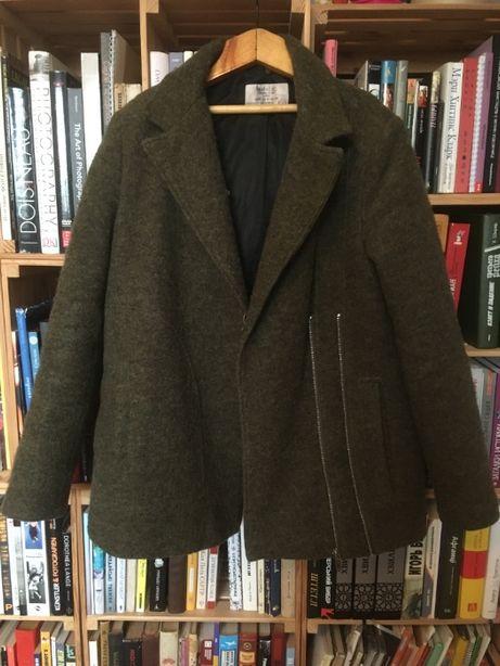 Шерстяное пальто косуха хаки осенее весеннее ZARA