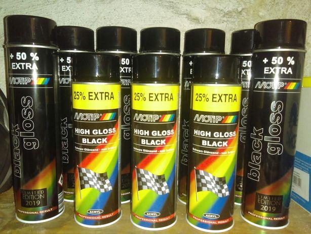 Lakier akrylowy czarny połysk spray Motip black gloss okazja najtaniej