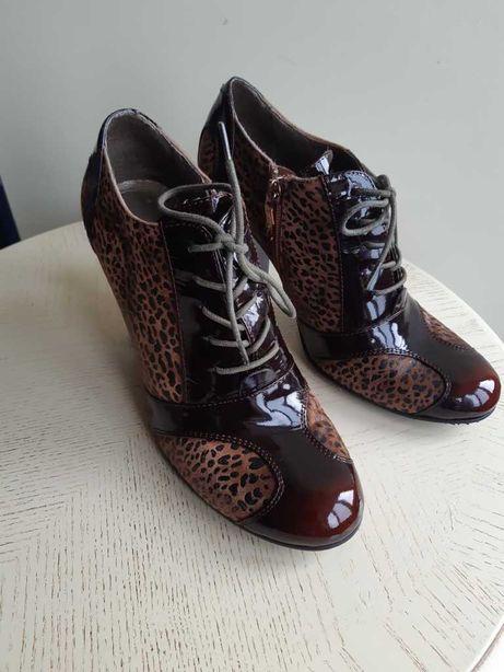 Respect кожа лаковая /замша ботильйоны  коричневые /леопард