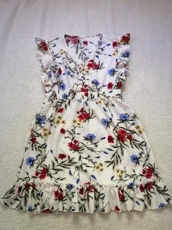 Летнее лёгкое платье в цветы, цветочный принт, с рюшами, тренд 2020, р