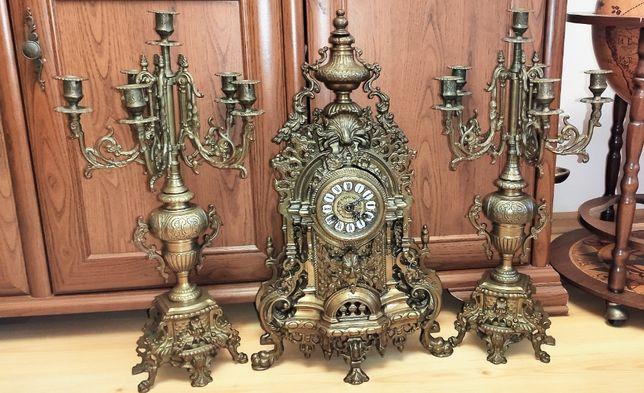 Wspaniały ,Wielki zegar kominkowy z kandelabrami mosiądz XIX wiek