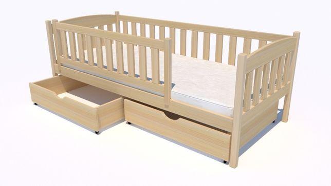 Dziecięce łóżeczko pojedyncze wykonane w 100% z drewna sosnowego