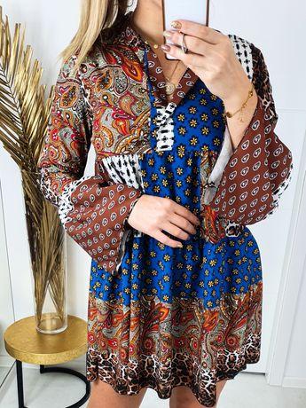 Sukienka w kwiaty, panterkę piękny wzór rozmiar uniwersalny