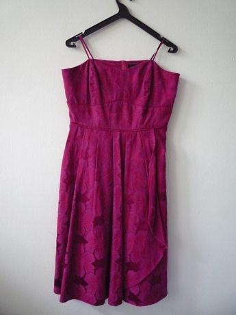 Różowa rozkloszowana sukienka bez ramiączek w kwiaty l xl 40 42