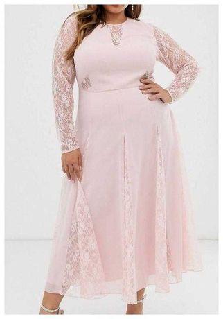 Длинное шифоновое платье с кружевными рукавами Asos большой размер