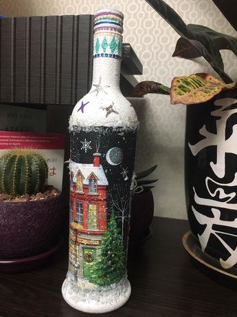 Новогодний декор. Новогодняя бутылка. Подарок