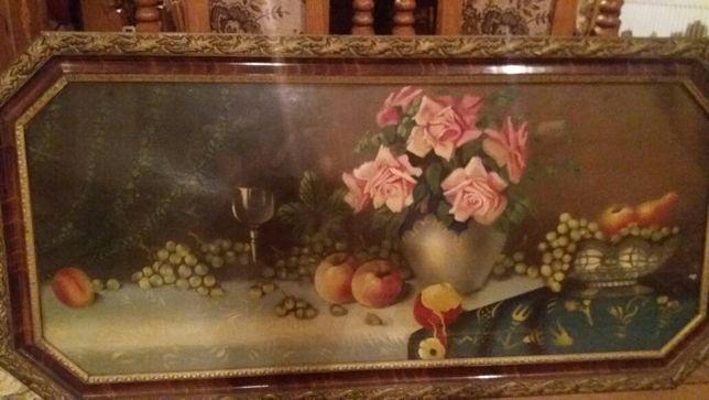Obraz z kwiatami lata 70.