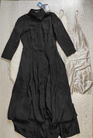 Черное длинное платье в пол макси Guess цветочным принтом рисунком Гес