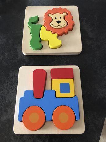 Klocki drewniane puzzle