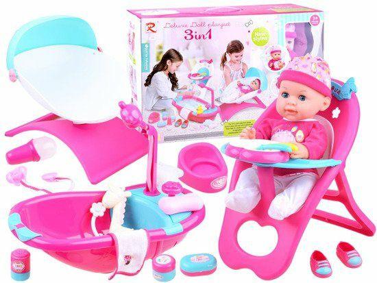 Zestaw 3w1 Lala krzesełko leżaczek wanienka. Lalka dla dziewczynki.