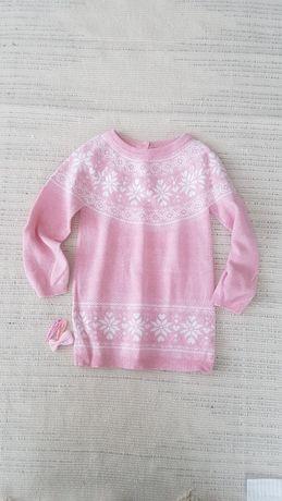 Sweterek cienki tunika dzianinowa sukienka  18 24 m-ce 92 +gratis nr59