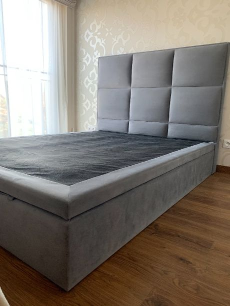 Łóżko tapicerowane, szare,pojemnik na pościel, OKAZJA, -40% ! 160cmx20
