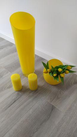 Żółte dodatki do salonu