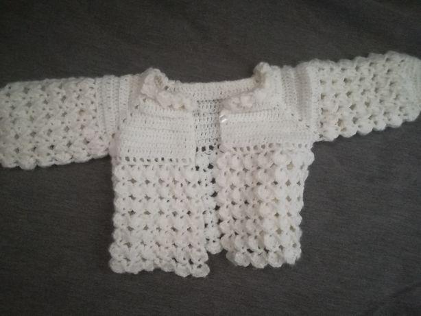 Conjunto vestido de algodão+casaco feito a mão com lã hipoalergenica
