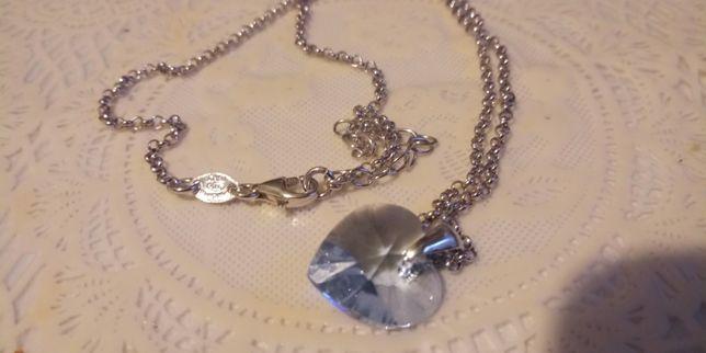 Swarovski serce niebieski topaz i srebro łańcuszek Italy 925 oryginal