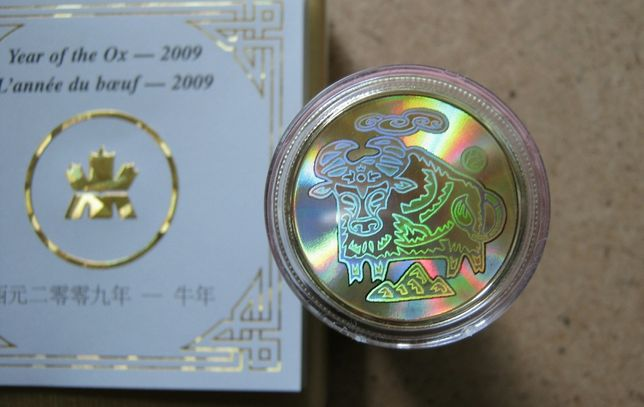Złota moneta z hologramem 150$ Rok Bawoła 2009r