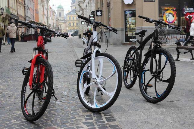 "+БОHУC!! Велосипед BMW BLACK WHITE на литых дискax 26""17 W0008"
