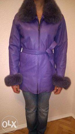 Срочно кожаная куртка с мехом песца