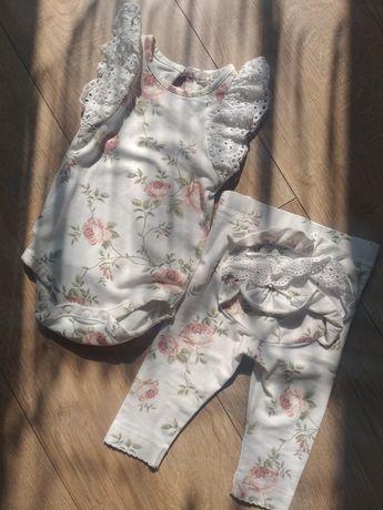 Komplet body leginsy Newbie Kappahl róże