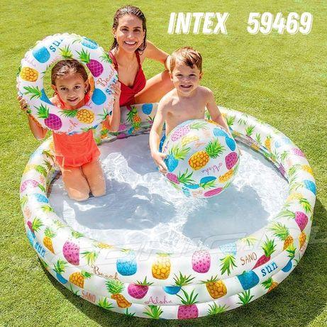 Бассейн надувной Intex 59469, 59460 с кругом и мячом