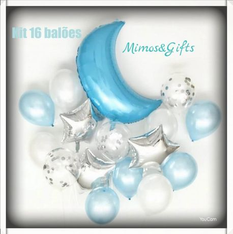 Kit 16 balões lua azul