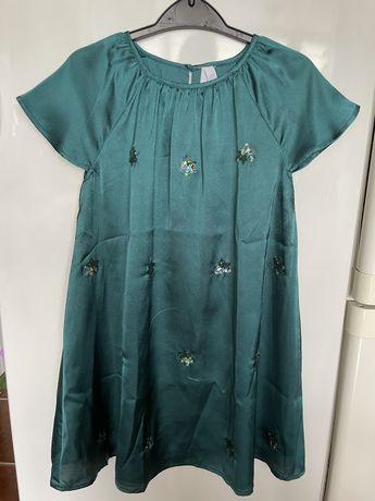 Vestido cetim verde Lft 7/8 anos NOVO