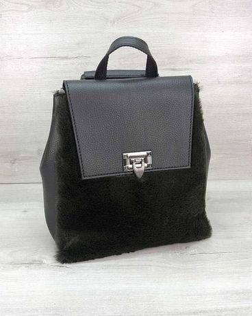 Рюкзак женский «Фаби» черный с мехом Жіночий чорний рюкзак