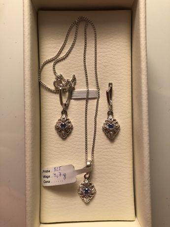 Komplet biżuterii srebro 925 łańcuszek kolczyki i pierścionek akwamary