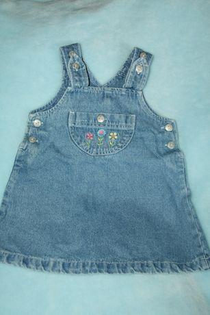 Spódniczka na szelkach jeans rozmiar 9-12 miesięcy