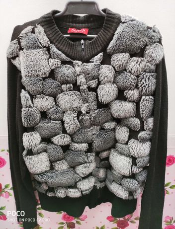 Damski sweter na zamek, firma TAIFUN, na przodzie a La futerko