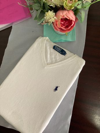 Biały sweter Polo Ralph Lauren dekolt w serek - rozmiar M