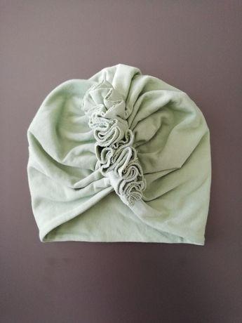 Czapka turban mietowa zielona