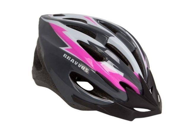 Шлем велосипедный Bravvos HEL128 черно-бело-розовый