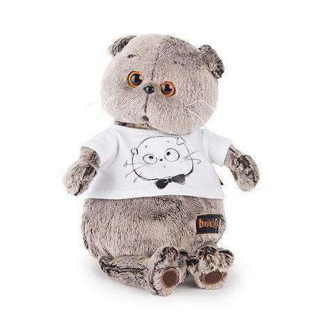 Мягкая игрушка Кот Басик в футболке с принтом Мордочка Басика