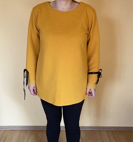 Musztardowa bluzka oversize uniwersalna