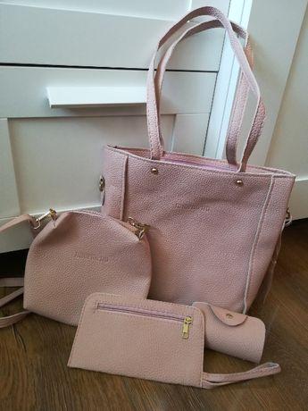 Zestaw torba torebka różowa pudrowy róż kosmetyczka etui portfel nowe
