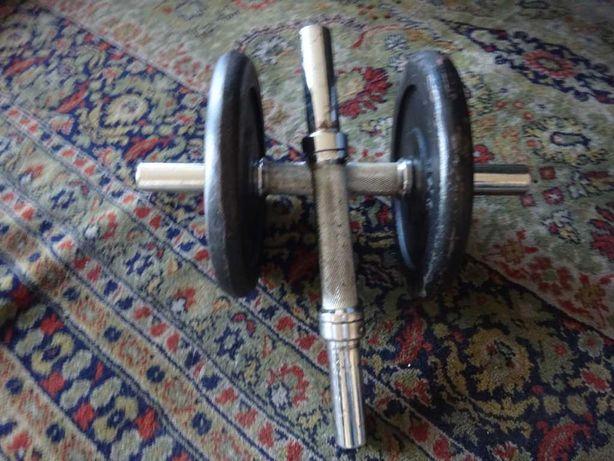 2 Halteres de musculação clássicos, peso e preço 10 Kilos cada.