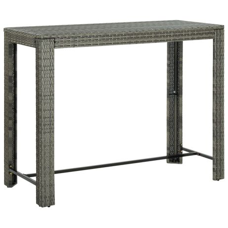 vidaXL Mesa de bar para jardim 140,5x60,5x110,5 cm vime PE cinzento 45878