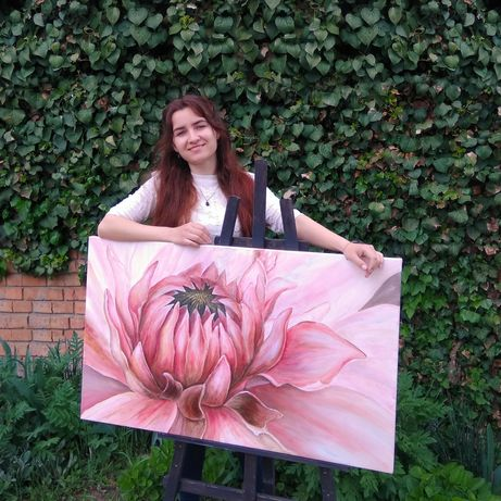 Картина цветы цветок в наличии Абстракция Интерьерная картина на заказ