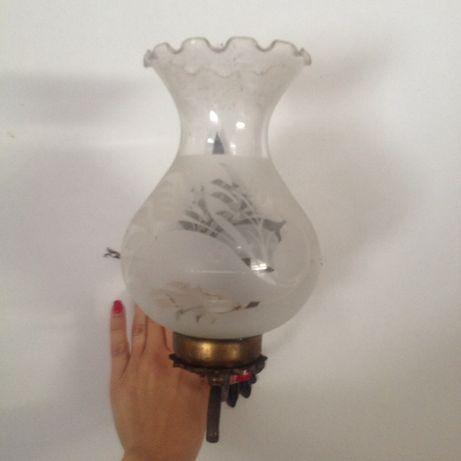 Candeeiro de parede antigo vintage em cristal