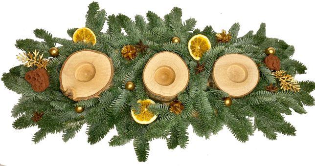 Świecznik świąteczny oryginalny handmade