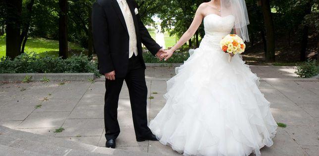 Suknia ślubna i garnitur zestaw r. S/M